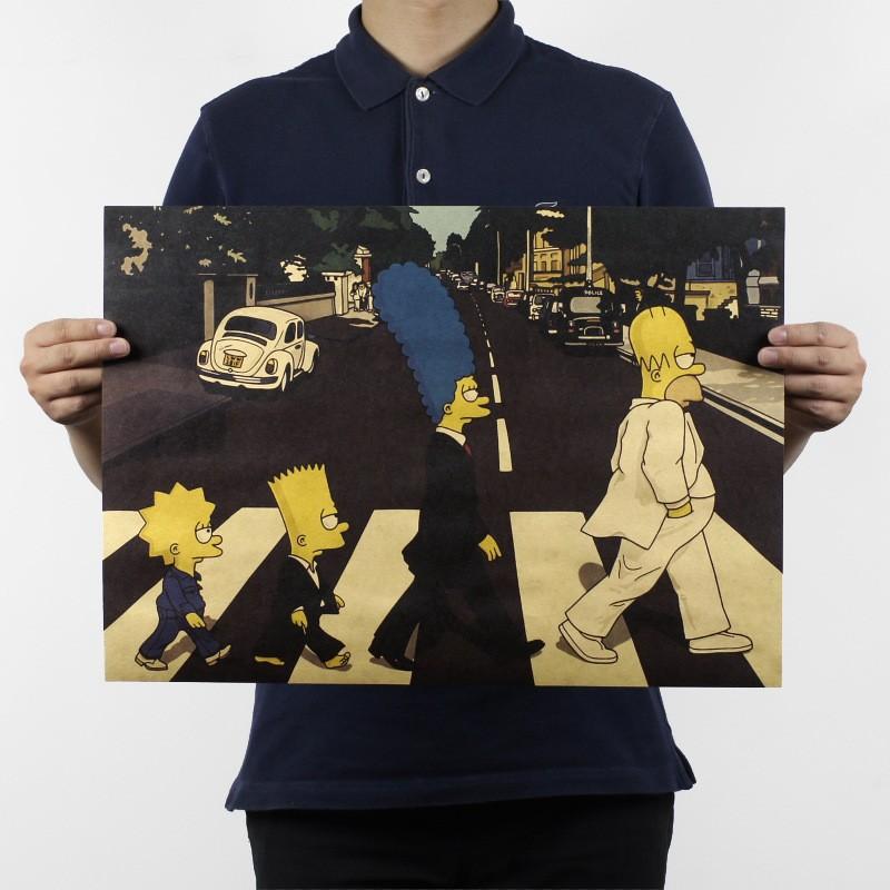 -font-b-Vinilos-b-font-Paredes-Simpsons-Spoof-The-Beatles-Cross-Road-Kraft-font-b